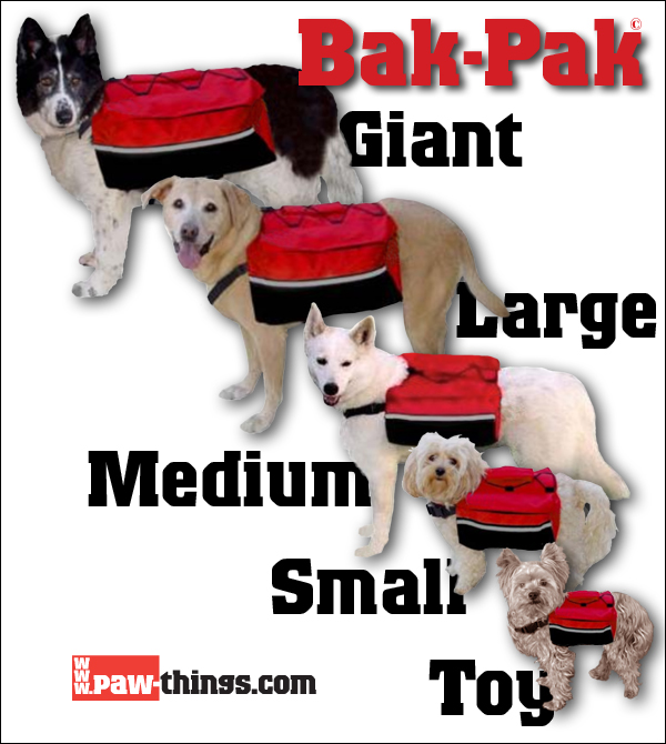 The complete five-size range of Bak-Paks.
