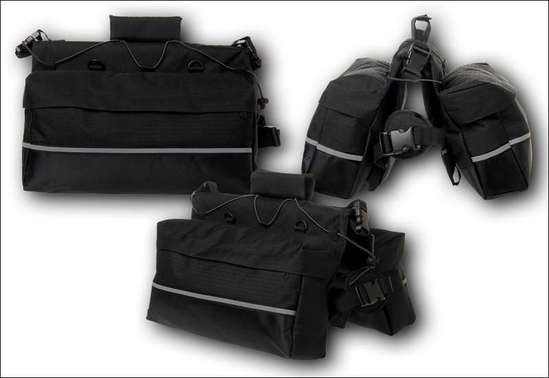 A range of views showing how the panniers are combined with the harness.