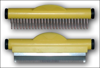 The rake head (above) and the comb head (below).