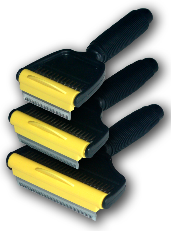 The three comb/rake combinations in the 'Hair-raiser Duo' range.